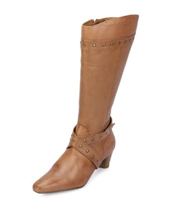 Tan Leather Knee Boots - La Briza