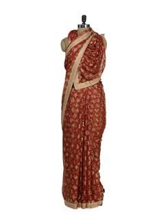 Elegant Red Phulkari Chiffon Saree - Home Of Impression