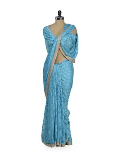 Elegant Sky Blue Phulkari Saree - Home Of Impression