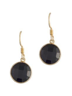 Gold Plated Silver Drop With Black Onyx. - Posy Samriddh