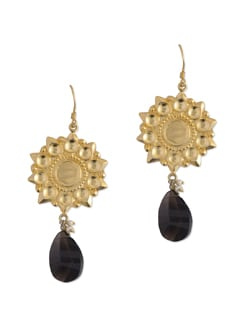 Gold Plated Earring With Smokie Topaz Drop. - Posy Samriddh
