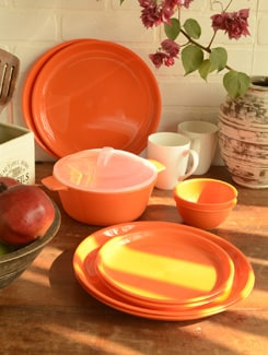 Orange Dinner Set Of 20 Pieces - TRUST And GUESS