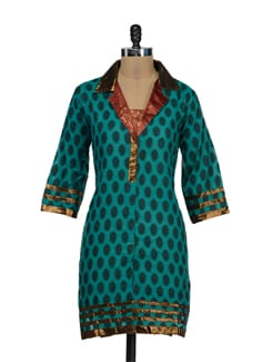 Printed Green Kurti With Shimmering Collar - STRI