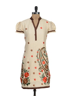 Embroidered Kurta In Cream And Brown - STRI