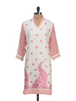 Embroidered Pink And Off White Kurta - STRI