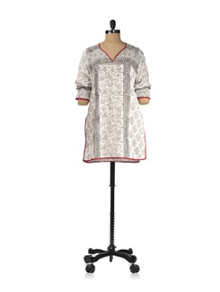 White With Red Piping Block Printed Kurti - KILOL