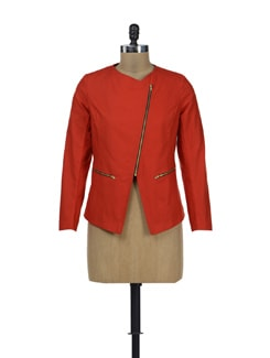 Bold Red Zippered Jacket - HERMOSEAR
