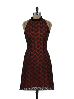 Lacy Red A-line Dress - HERMOSEAR