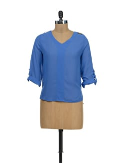 Stylish Blue Georgette Top - TREND SHOP