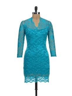 Blue Lace Mini Dress - TREND SHOP