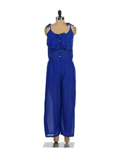 Ruffled Blue Jumpsuit - TREND SHOP