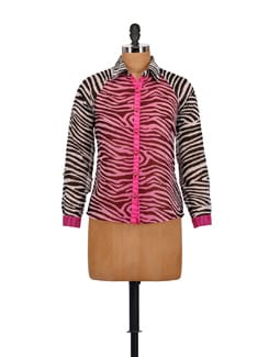 Pink & Black Animal Print Shirt - AKYRA