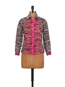 Pink & Black Animal Print Shirt - AKYRA
