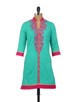 Pink & Blue Embroidered Kurta - AKYRA