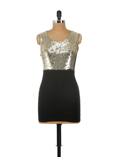 Sleek Black And Gold Party Dress