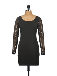 Sequinned Sleeve Dress