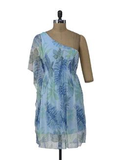 One Shoulder Off Sky Blue Dress - ShopImagine