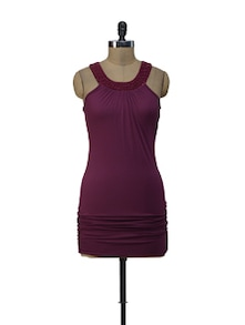 Deep Wine Halter Dress