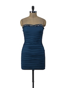 Ruched Tube Teal Dress