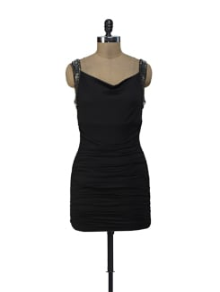 Ruched Sexy Black Dress - ShopImagine