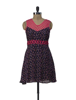 Printed Hot Pink And Navy Blue Dress - ShopImagine