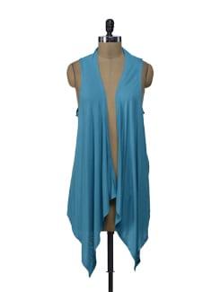 Blue Crochet Asymmetrical  Shrug - ShopImagine