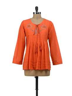 Embroidered Orange Top - URBAN RELIGION