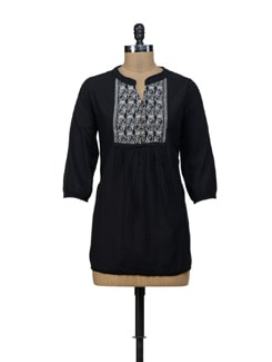 Black Embroidered Kurti - URBAN RELIGION