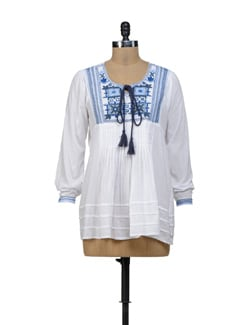 White & Blue Embroidered Top - URBAN RELIGION