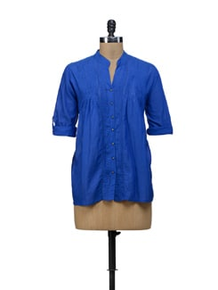 Cobalt Blue Pintucked Top - URBAN RELIGION