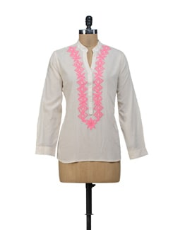 White & Pink Embroidered Top - URBAN RELIGION
