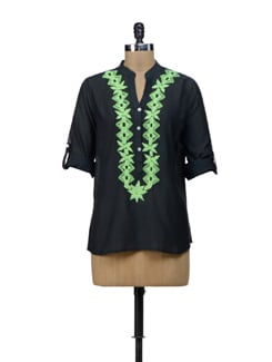 Black & Green Embroidered Top - URBAN RELIGION