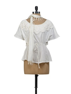 White Lace Top With Scarf - URBAN RELIGION
