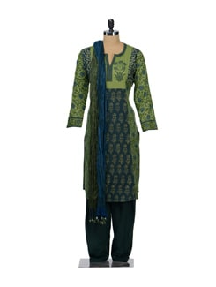 Bottle Green Block Print Salwar Suit - KILOL