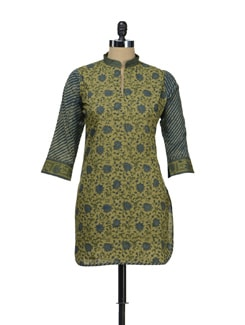 Elegant Floral Kurti With Striped Sleeves - KILOL