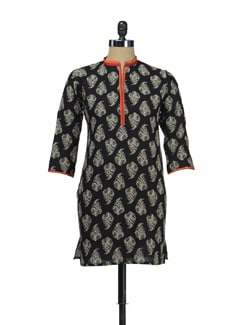 Black And Red Block Print Kurti - KILOL
