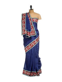 Elegant Blue & Red Silk Saree - SSV
