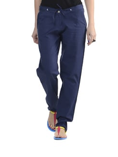 Navy Blue Straight Fit Pants - Delhi Seven