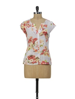 Floral Print Top With Ruffled Collar - Osia Italia