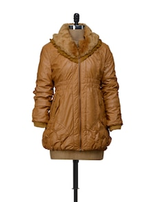 Tan Brown Jacket With Fur Collar - VOILE