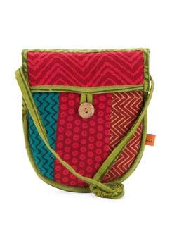 Red & Green Printed Handloom Sling Bag - Desiweaves