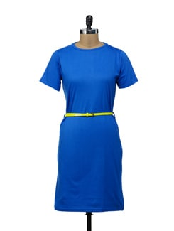 Bright Blue T-shirt Dress - Miss Chase