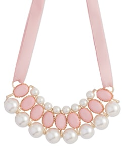 Pink & White Pearl Choker Necklace - Miss Chase