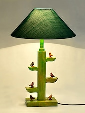 Little Birds Carved Wood Stand Green Lantern Table Lamp - ExclusiveLane