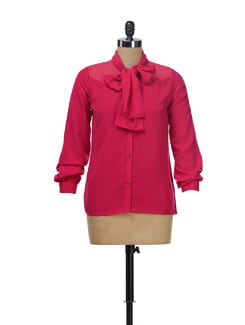Hot Pink Shirt With A Tie Up Scarf - NUN