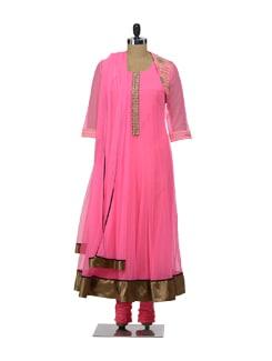 Designer Jacket Style Pink Suit - Morpunc