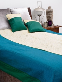 Off White And Aqua Blue Quilted Bedcover With Two Cushions - Nakalchee Bandar