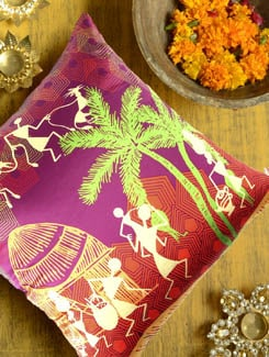 Modern Warli Cushion Cover - The Elephant Company 42501