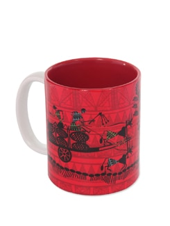 Red Ceramic Mug Cart Warli - The Elephant Company