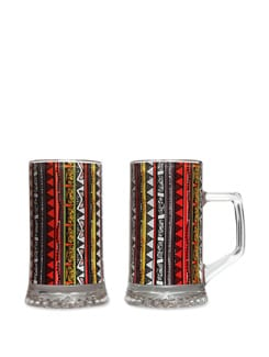 Beer Mugs S/2 Triangle Warli - The Elephant Company